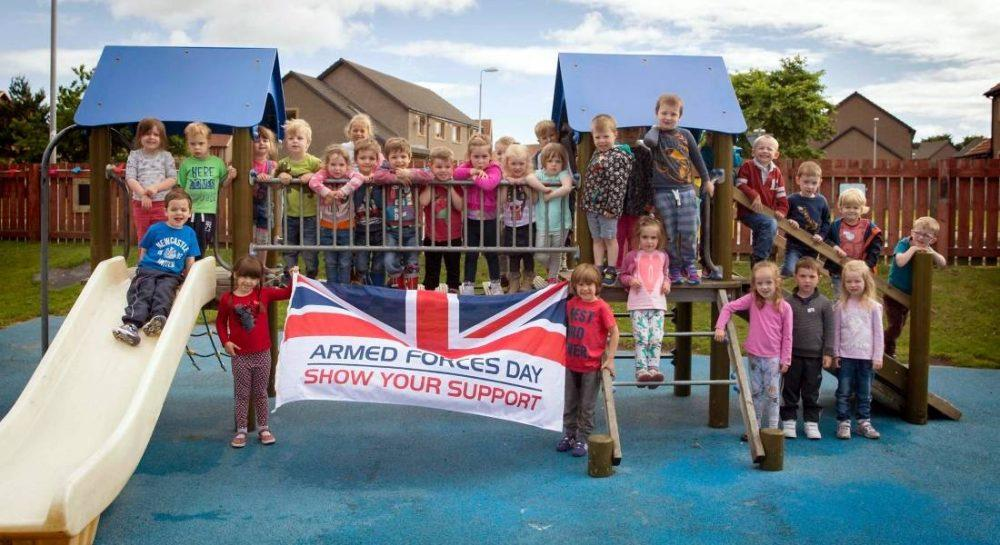 Young supporters flying the flag for Armed Forces Day (RAF Lossiemouth)
