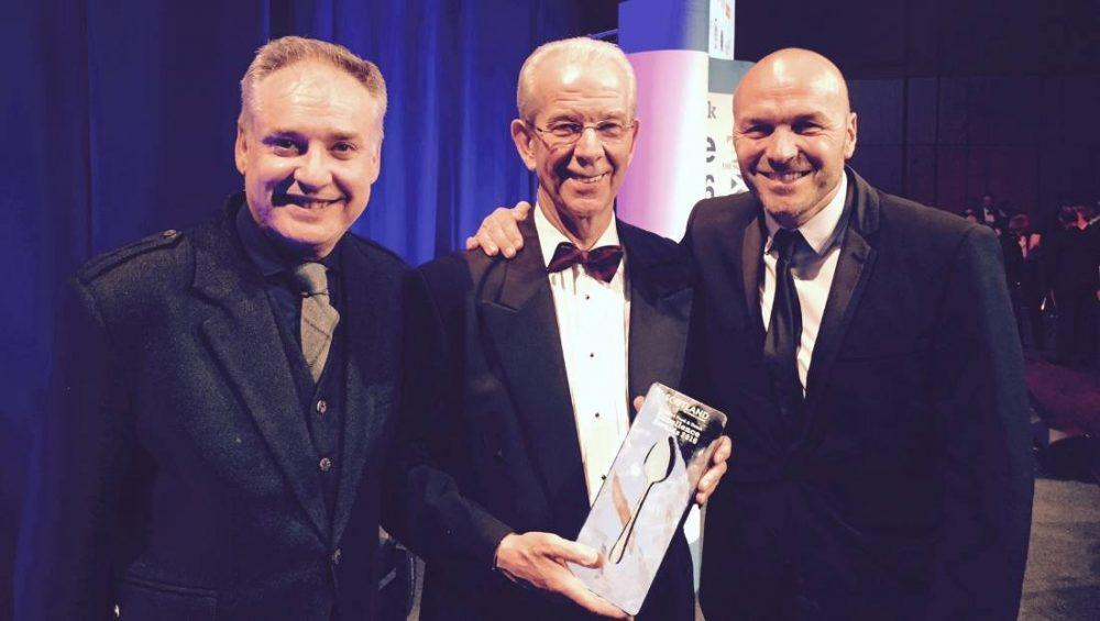 Richard Lochhead and Jim Walker with his award, and Simon Rimmer of C4's Sunday Brunch who presented the awards.