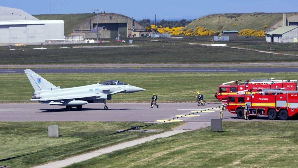 Typhoon on the Kinloss runway to test out alternative landing procedures.