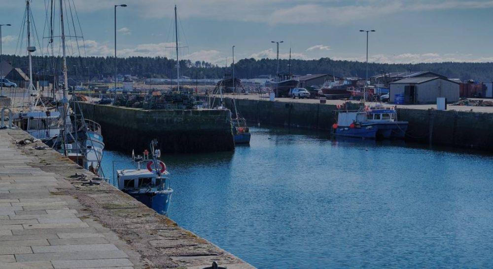 Burghead Harbour - clean up followed spill from trawler.