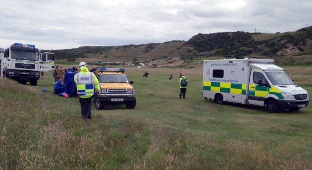 Joint rescue services effort at Covesea (Pic: Coastguard in Moray Facebook)