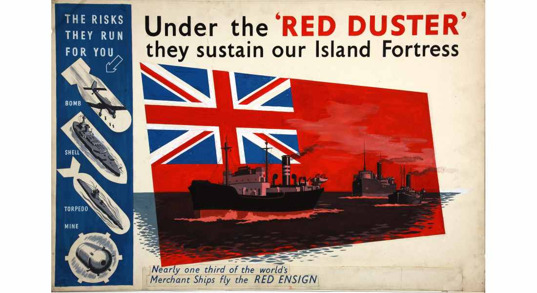 A wartime poster underlined the essential role of the Merchant Navy.