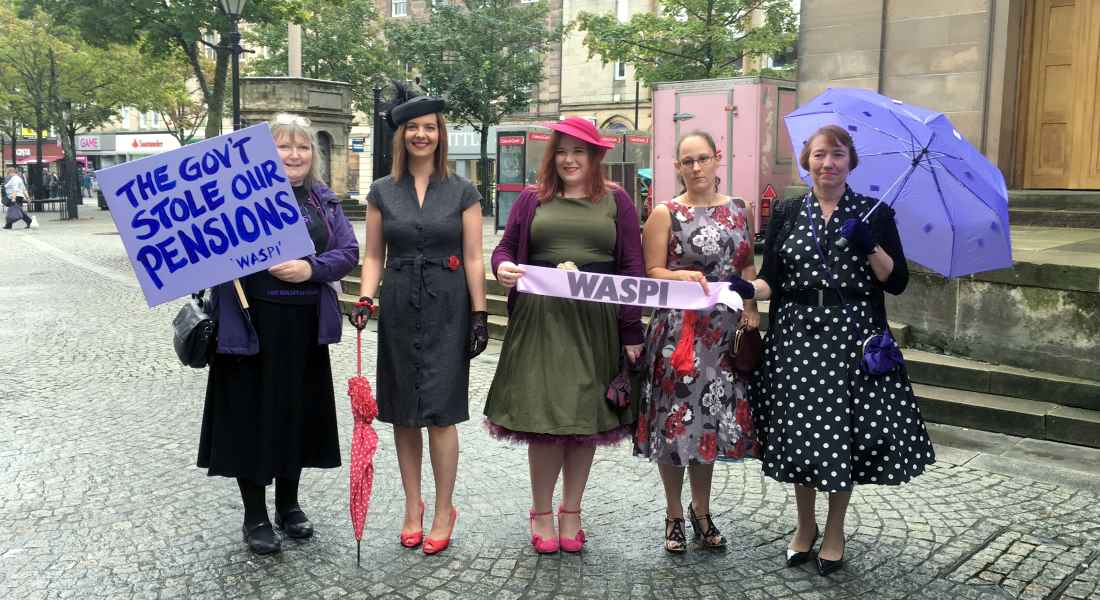 WASPI campaigners in Elgin dressed in 50's style.