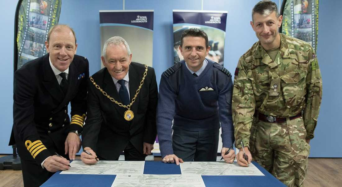 Civic and Military leaders put their names to the renewed Armed Forces Covenant in Moray.