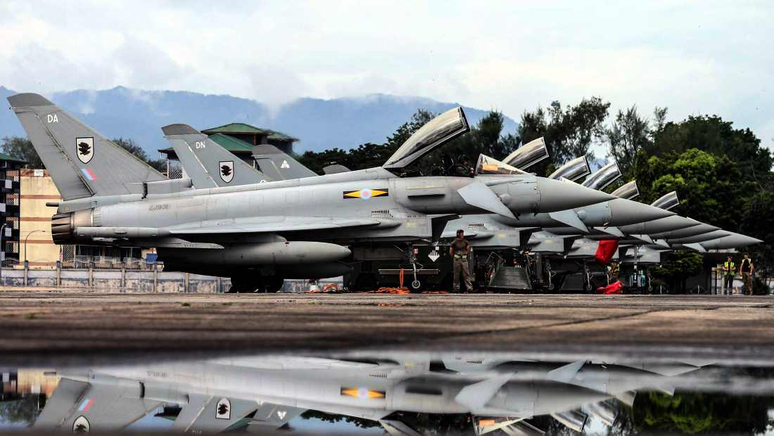 Moray Typhoons lined up before their departure to Japan.