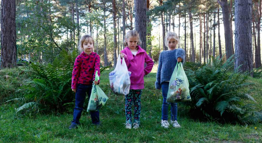 Jasmine recruited sisters Lianna, 8 and five-year-old Paige on her latest litter pick at Roseisle.