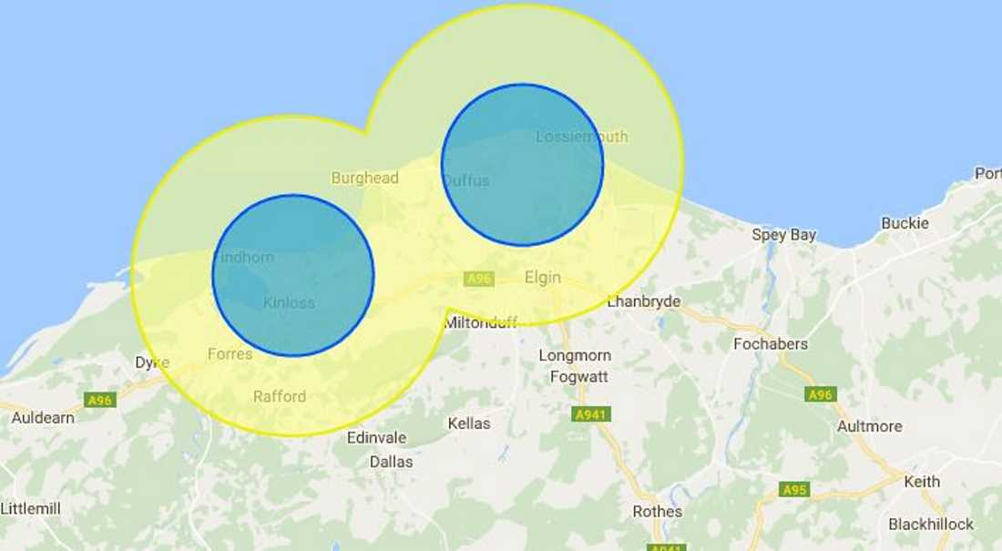Drones should not be flown either commercially or by hobbyists with the blue and yellow no-fly areas.