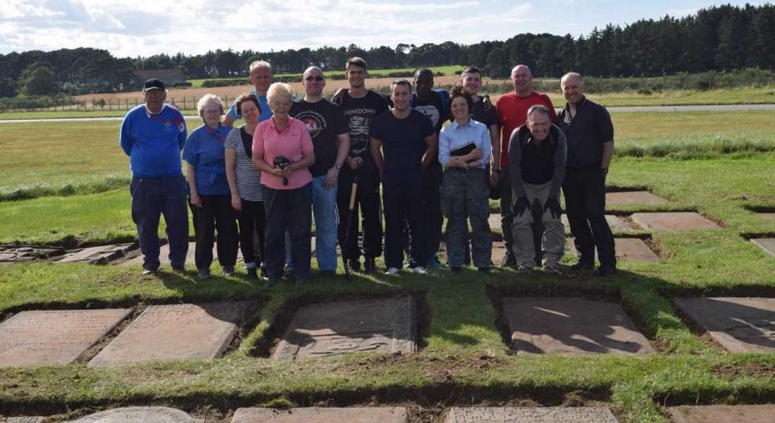 RAF and local volunteers looking after historical burial site.