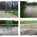 Appeal after athletics track is devastated by flood water